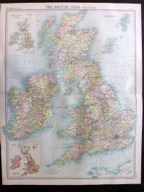 Bartholomew 1922 Large Map. British Isles. Political Map